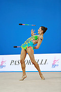 Prince Danielle during qualifying clubs at the Pesaro World Cup April 2, 2016. She is a rhythmic gymnastics athlete from Australia born 12 June 1992 in Brisbane.<br /> Danielle competed at the 2016 Summer Olympics held in Rio de Janeiro, Brazil.