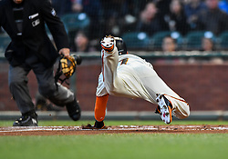 April 30, 2018 - San Francisco, CA, U.S. - SAN FRANCISCO, CA - APRIL 30: San Francisco Giants Outfield Gorkys Hernandez (7) dives into home for an RBI during the San Francisco Giants and San Diego Padres game on April 30, 2018 at AT&T Park in San Francisco, CA. (Photo by Stephen Hopson/Icon Sportswire) (Credit Image: © Stephen Hopson/Icon SMI via ZUMA Press)