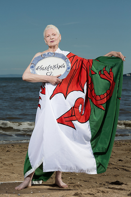 """Portrait of Fashion Designer Dame Vivienne Westwood on Swansea beach as part of the Talk Fracking tour, with the Gower Peninsula behind her, an area of outstanding natural beauty, under threat of fracking in the future.""""Thursday13 June, 2014.<br /> <br /> #talkfracking<br /> <br /> Photos by Ki Price"""