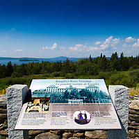 Historic plaque and marker explaining the popularity of Rangeley Lake House in the 1800s.  View is west from Maine State Road 4.