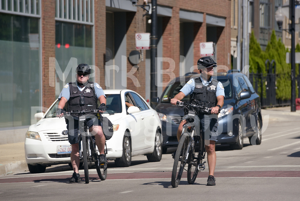 A Chicago Police bike patrol along 18th Street on Wednesday, Aug. 19, 2020.  Photo by Mark Black