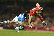 Liam Williams of Wales is tackled by Agustin Creevy of Argentina. Under Armour 2016 series international rugby, Wales v Argentina at the Principality Stadium in Cardiff , South Wales on Saturday 12th November 2016. pic by Andrew Orchard, Andrew Orchard sports photography