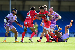 Antoine Dupont of Toulouse is challenged by Henry Slade of Exeter Chiefs - Mandatory by-line: Ryan Hiscott/JMP - 26/09/2020 - RUGBY - Sandy Park - Exeter, England - Exeter Chiefs v Toulouse - Heineken Champions Cup Semi Final