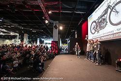 Samuele Reali of Abnormal Cycles Italy took second place Retro Modified class in the AMD World Championship of Custom Bike Building awards ceremony in the Intermot Customized hall during the Intermot International Motorcycle Fair. Cologne, Germany. Sunday October 7, 2018. Photography ©2018 Michael Lichter.