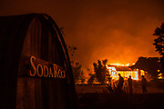 HEALDSBURG, CA - OCTOBER 27: Soda Rock Vineyards burns during the Kincade Fire in Healdsburg, California, U.S. on Sunday October 27, 2019. Photographer: Philip Pacheco/Bloomberg