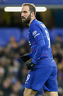 Chelsea Forward Gonzalo Higuain on loan from Juventus during the The FA Cup fourth round match between Chelsea and Sheffield Wednesday at Stamford Bridge, London, England on 27 January 2019.