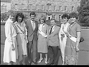 Rose of Tralee Contestants at Leinster House..1983.26.08.1983.08.26.1983.26th August 1983..Photograph of Mr Dick Spring,Tanaiste and Minister for Enviroment,welcoming the Roses to Leinster House Dublin for a Champagne reception. Included in the image is Mr Denis Mannaix,President of the Festival Committee and the following Roses..Cork, Miss Irene de Leeue..Limerick, Miss Noelle Westropp-Bennett..Kerry,Miss Peggy King..Tralee,Miss Martina Keane..Waterford Miss Brenda Hyland who was the eventual winner of the Title of Rose of Tralee.