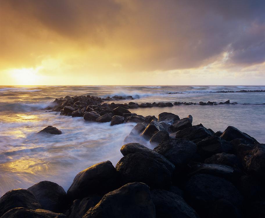Hikina a Ka La Heiau fishpond wall Wailua sunrise