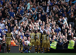 Sheffield Wednesday's Steven Fletcher celebrates with team mates after scoring against Fulham