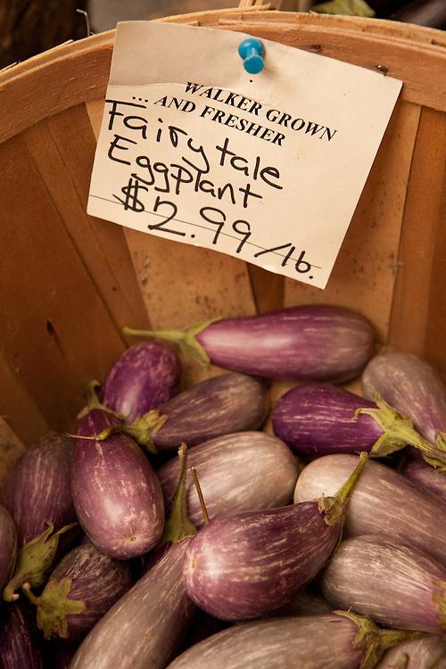 Eggplant for sale, Walker's Roadside Stand, Little Compton, Rhode Island.