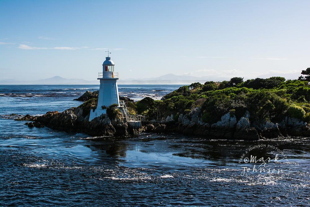 Lighthouse on Entrance Island, Hells Gate, Macquarie Harbor, Tasmania, Australia