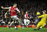 Barclays Premier League  Arsenal v Wolves<br />Wayne Hennessey saves from Thomas Vermaelen