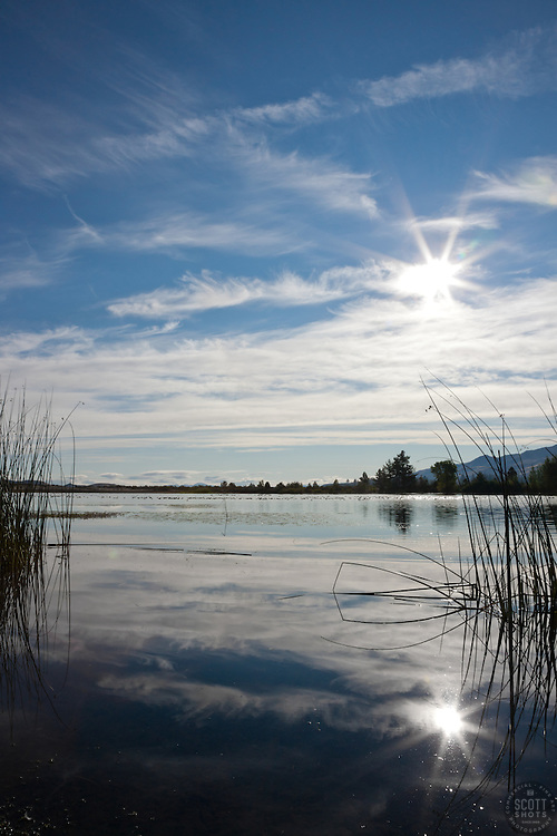"""""""Pond in Verdi"""" - This little pond and reflection of the sun was photographed in Verdi, Nevada."""