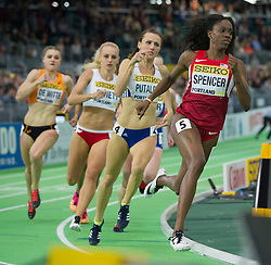 Ashley Spencer(1st, R) of the United States competes in the Women's 400 Metres Semi-Final during day two of the IAAF World Indoor Championships at Oregon Convention Center in Portland, Oregon, the United States, on March 18, 2016. EXPA Pictures © 2016, PhotoCredit: EXPA/ Photoshot/ Yang Lei from Chongqing<br /> <br /> *****ATTENTION - for AUT, SLO, CRO, SRB, BIH, MAZ, SUI only*****