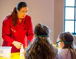 City Arts Centre, Edinburgh, Scotland, United Kingdom, 9 April 2019. Edinburgh Science Festival:  Science Communicator entertains children at Splat-Tastic chemistry goo workshop at the Science Festival. <br /> <br /> Sally Anderson | EdinburghElitemedia.co.uk