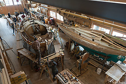 North America, United States, Washington, Port Townsend. Boats being built inside Northwest Maritime Center.