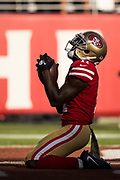 San Francisco 49ers wide receiver Marquise Goodwin (11) celebrates a touchdown against the New York Giants at Levi's Stadium in Santa Clara, Calif., on November 12, 2017. (Stan Olszewski/Special to S.F. Examiner)