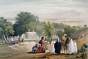 First Anglo-Afghan War 1838-1842: Tomb of Emperor Babur (d1530). From J Atkinson 'Sketches in Afghanistan' London 1842. Hand-coloured lithograph.