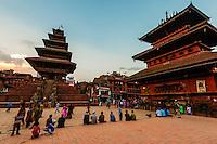 Taumadhi Square (Nyatapola Pagoda on left and Bhairav Temple on right), Bhaktapur, Kathmandu Valley, Nepal.