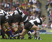 Twickenham. England. RFU Stadium, Surrey. <br /> Photo Peter Spurrier25/05/2003<br /> 2003 - Rugby - England v Barbarians.<br /> Mark Robinson moves the ball from the back of the scrum         [Mandatory Credit: Peter SPURRIER/Intersport Images]