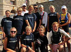 Peter Gilmour with just some of the Junior Cup sailing event competitors. Photo: Chris Davies/WMRT