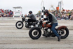 On their Harley-Davidson flatheads, Chris Scudieri (72) goes up against Myles Atherton (00) of New Fairfield CT on his Model U at TROG (The Race Of Gentlemen). Wildwood, NJ. USA. Sunday June 10, 2018. Photography ©2018 Michael Lichter.