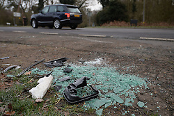File photo dated 18/01/19 of broken glass and car parts on the side of the A149 near to the Sandringham Estate where the Duke of Edinburgh was involved in a road accident. The Queen privately owns Sandringham House and its vast surrounding estate, which includes 16,000 acres of farmland, 3,500 acres of woodland and 150 properties. Philip took on overall responsibility for the management of the estate at the start of the QueenÕs reign in 1952. He concentrated on maintaining it for future generations, ensuring conservation was at the heart of the way it was run. The Duke of Edinburgh spent much of his retirement at Wood Farm on the Sandringham estate. Issue date: Friday April 9, 2021.