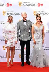 Kirsty Leigh-Porter, Keiron Richardson and Stephanie Davis attending the Virgin Media BAFTA TV awards, held at the Royal Festival Hall in London. Photo credit should read: Doug Peters/EMPICS