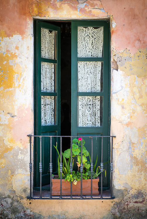 View of a typical window in the historic city of Colonia del Sacramento in Uruguay.