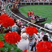 "HRH Queen Elizabeth II arrives at Royal Ascot Race Course, Ascot, UK, on Thursday, June 18, 2009. Photo Tim Clayton """