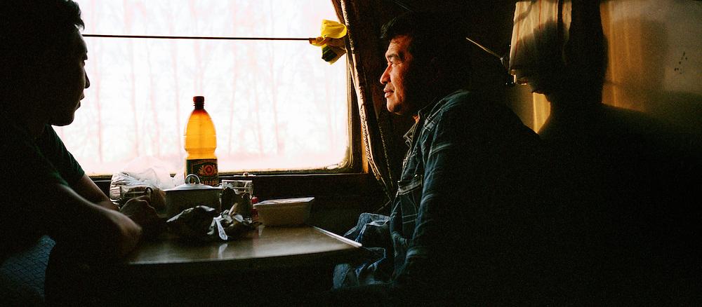Travellers on board the Trans Siberian Railway, Siberia, Russia