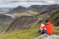 Enjoying the view over y Llymllwyd and down to Ogwen lake from Foel Goch