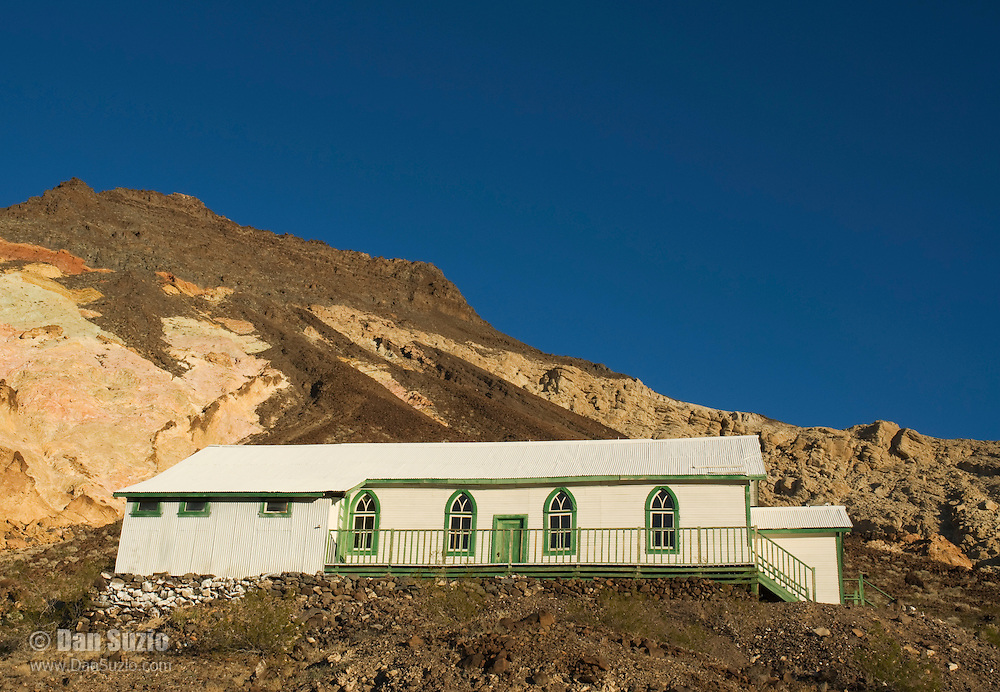 Church at Ryan, California, a 1920s mining camp in the Greenwater Range on the Eastern edge of Death Valley. Originally built at Rhyolite, Nevada, the church was dismantled and moved to Ryan when the town of Rhyolite was abandoned.