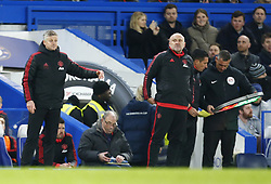 February 18, 2019 - London, United Kingdom - L-R Manchester United manager Ole Gunnar Solskjaer  and Manchester United  First-team coach Mike Phelan.during FA Cup Fifth Round between Chelsea and Manchester United at Stanford Bridge stadium , London, England on 18 Feb 2019. (Credit Image: © Action Foto Sport/NurPhoto via ZUMA Press)