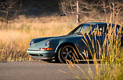 Image of a blue Singer Vehicle Design Porsche 911 in Sun Valley, Idaho, Pacific Northwest