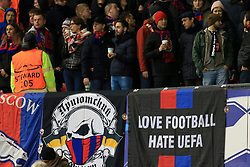 5th December 2017 - UEFA Champions League - Group A - Manchester United v CSKA Moscow - CSKA fans display a flag reading 'Love Football Hate UEFA' - Photo: Simon Stacpoole / Offside.