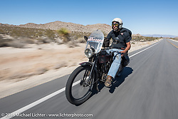 Anthony Rutledge of Connecticut riding his 1915 Harley-Davidson class-3 motorcycle during the Motorcycle Cannonball Race of the Century. Stage-14 ride from Lake Havasu CIty, AZ to Palm Desert, CA. USA. Saturday September 24, 2016. Photography ©2016 Michael Lichter.
