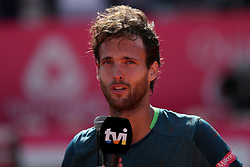 May 6, 2018 - Estoril, Portugal - Joao Sousa of Portugal speaks to the press after winning the Millennium Estoril Open ATP 250 tennis tournament final against Frances Tiafoe of US, at the Clube de Tenis do Estoril in Estoril, Portugal on May 6, 2018. (Joao Sousa won 2-0) (Credit Image: © Pedro Fiuza/NurPhoto via ZUMA Press)