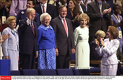© Akira Suwa/KRT/ABACA. 52811-3. Philadelphia-PA-USA, August 1 2000. Former first lady Betty Ford, former President Gerald Ford, former first lady Barbara Bush, former President George Bush and former first lady Nancy Reagan are cheered by Elizabeth Dole,