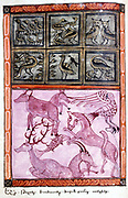 Creation of the animals. Bible: Genesis. Old Testament.  From Armenian Evangelistery, 1587, manuscript.
