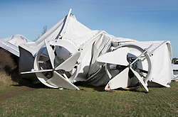 © Licensed to London News Pictures. 19/11/2017. Bedford, UK. The remains of the damaged Airlander 10 airship engines  are seen in a field near Cardington air sheds. The world's longest aircraft has collapsed to the ground after breaking free from it's mooring.  A safety mechanism deflated the aircraft automatically. Two people on the ground suffered minor injuries.Photo credit: Peter Macdiarmid/LNP
