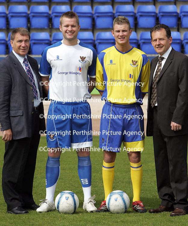 St Johnstone FC announce new kit & sponsorship deal...17.05.07<br /> Pictured from left, Chairman Geoff Brown, Kevin Rutkiewicz wears the new home strip, Willie Dyer wearing the new away strip and Andy Wyles, MD of George Wimpey East Ltd; who have sponsored the club for a further two seasons.<br /> see story by Gordon Bannerman Tel: 01738 553978 or 07729 865788<br /> Picture by Graeme Hart.<br /> Copyright Perthshire Picture Agency<br /> Tel: 01738 623350  Mobile: 07990 594431