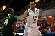 DALLAS, TX - JANUARY 15: Nick Russell #12 of the SMU Mustangs brings the ball up court against the South Florida Bulls on January 15, 2014 at Moody Coliseum in Dallas, Texas.  (Photo by Cooper Neill/Getty Images) *** Local Caption *** Nick Russell