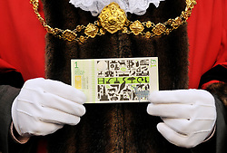 © Licensed to London News Pictures. 19/09/2012. Bristol, UK. Bristol's Lord Mayor Peter Main at the launch of the Bristol Pound, the first local currency to be implemented across a major UK city and already supported by over 300 traders, including electronic payments and supported by the Bristol Credit Union. The notes feature art by local artists and the launch was in Corn Street Bristol, the site of the historic trading area where deals were done on the nails, metal pedestals on the street.  19 September 2012..Photo credit : Simon Chapman/LNP