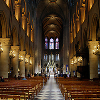 Europe, France, Paris. Notre-Dame Cathedral Nave.