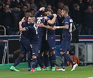 Paris Saint-Germain Edinson Cavani is congratulated during the Champions League match between Paris Saint-Germain and Chelsea at Parc des Princes, Paris, France on 17 February 2015. Photo by Phil Duncan.