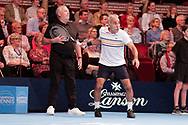 Mansour Bahrami joking with the line umpire during the Champions Tennis match at the Royal Albert Hall, London, United Kingdom on 6 December 2018. Picture by Ian Stephen.