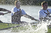 Chiswick, London. <br /> University of London Trail Eights<br /> 14/02/2002<br /> Putney to Mortlake<br /> Henry Adam (L) Peter Champion from UL crew 'Honour' power through the rough water on the Hammersmith bend.        [Mandatory Credit:Peter SPURRIER/Intersport Images]