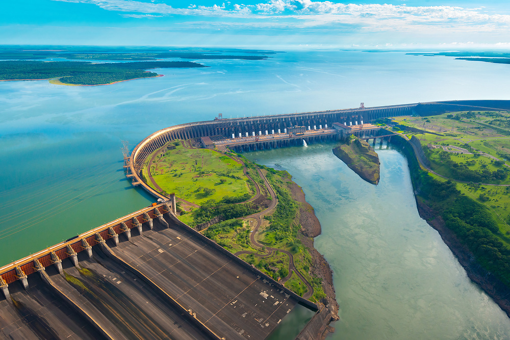 Aerial view of the Itaipu Hydroelectric Dam on the Parana River.
