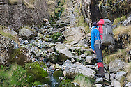Starting up the easy scramble to the Foxes Tarn